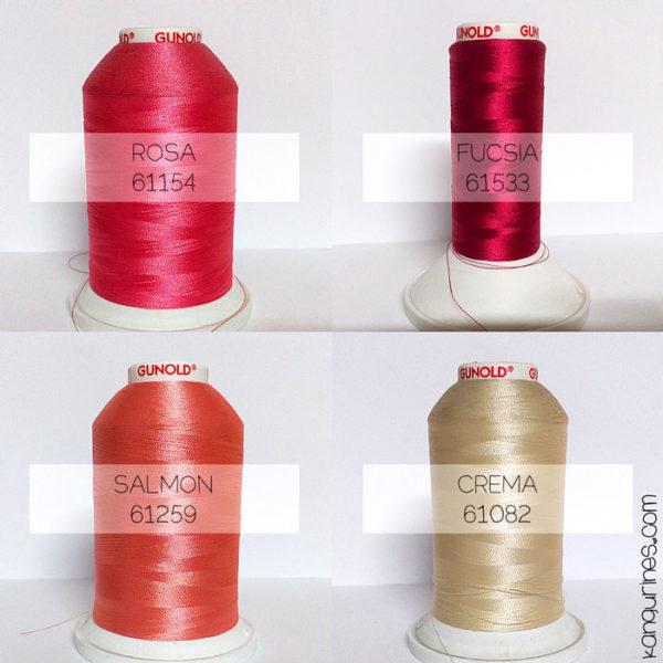 Gama de colores disponibles para tu bordado