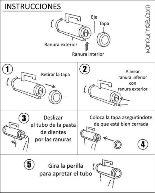 Instrucciones exprimidor de pasta de dientes