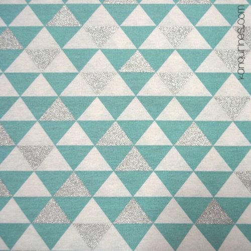 Loneta glitter triángulos