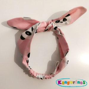 Diadema turbante. Pandas pink