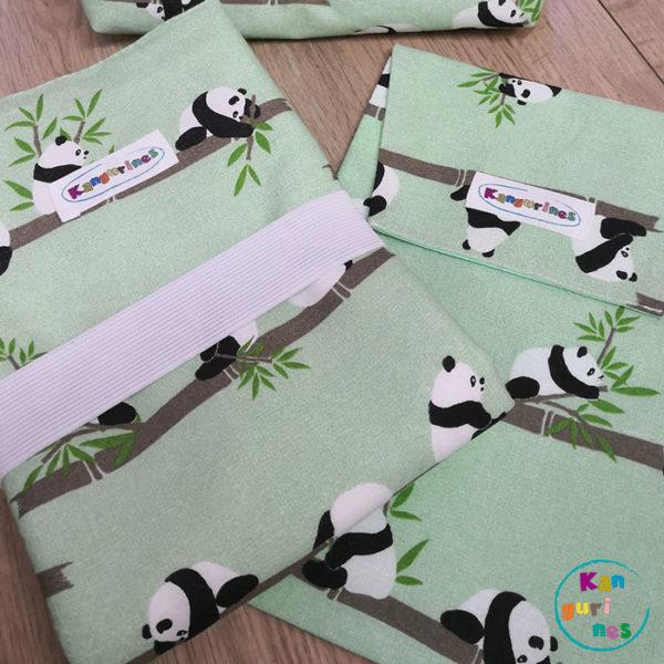 Pack Bolsa porta pañales y cambiador. Pandas bambú