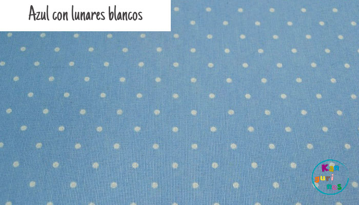 Tela Azul con lunares blancos