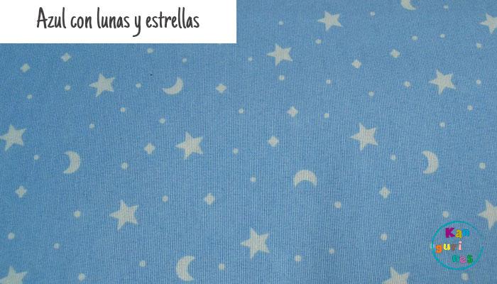 Tela Azul con lunas y estrellas