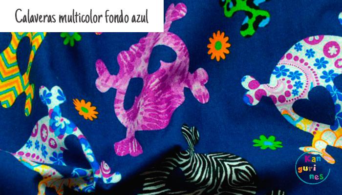 Tela Calaveras multicolor fondo azul
