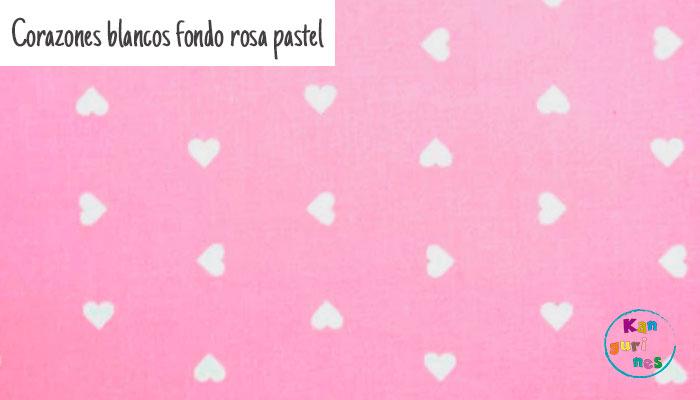 Tela Corazones blancos fondo rosa pastel