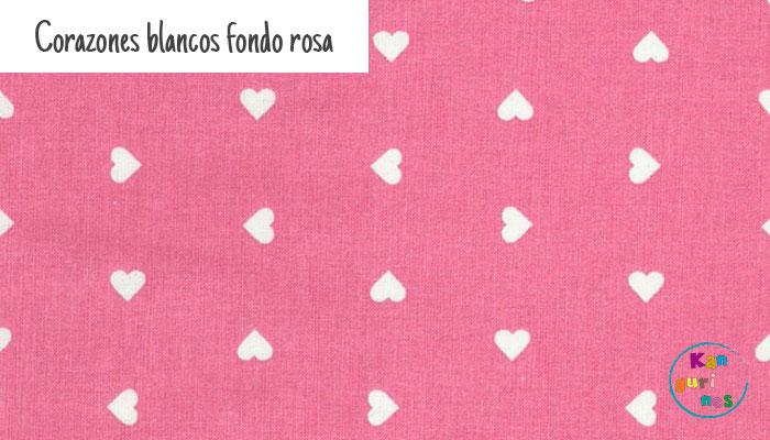 Tela Corazones blancos fondo rosa