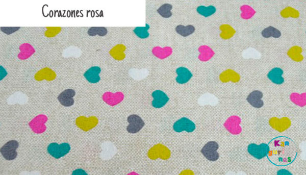 Tela Corazones rosa