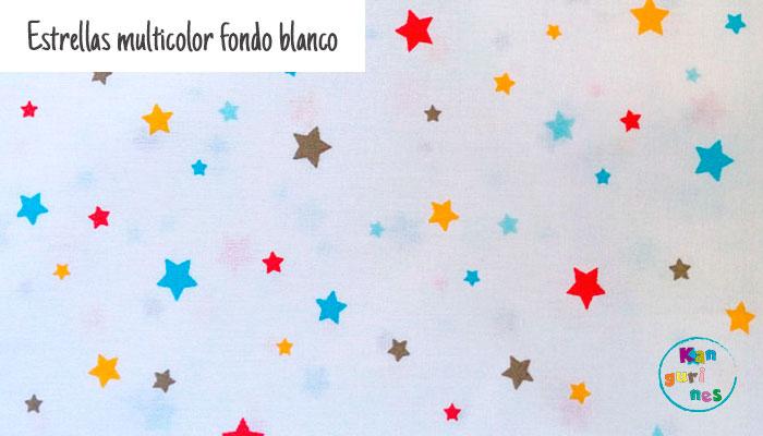 Tela Estrellas multicolor fondo blanco