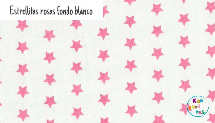 Tela Estrellitas rosas fondo blanco