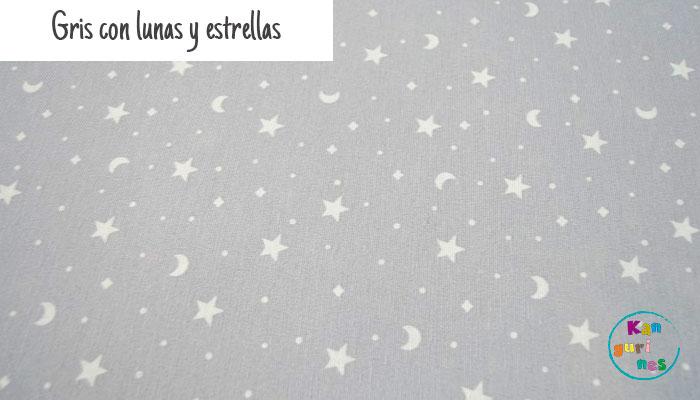 Tela Gris con lunas y estrellas