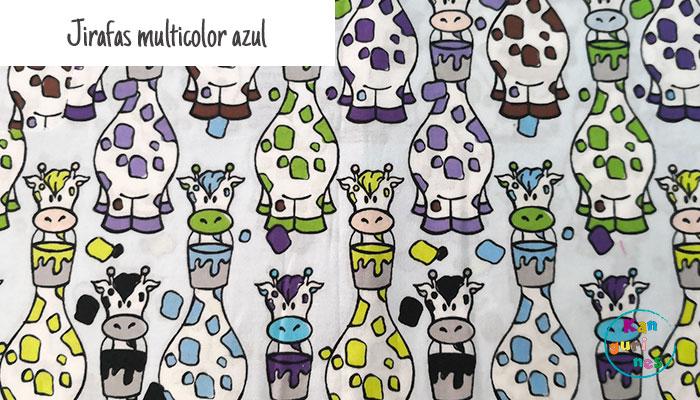 Tela Jirafas multicolor azul