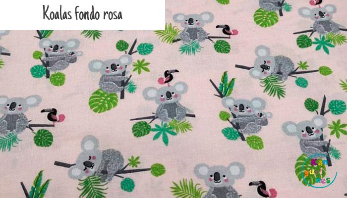 Tela Koalas fondo rosa