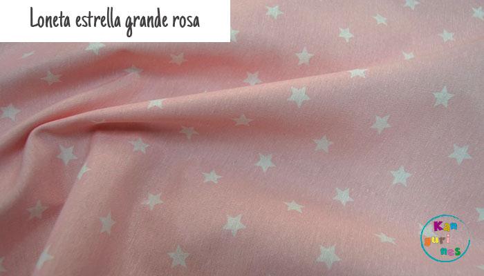 Tela Loneta estrella grande rosa