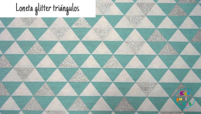 Tela Loneta glitter triángulos