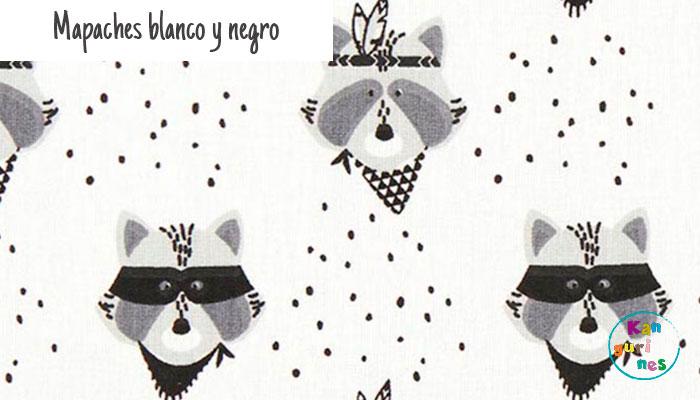 Tela Mapaches blanco y negro