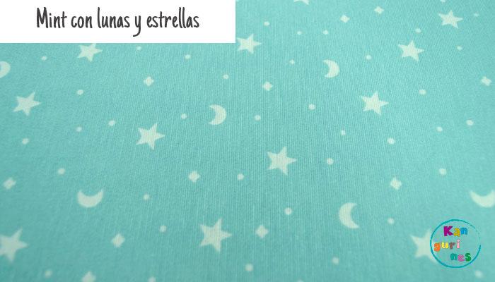 Tela Mint con lunas y estrellas