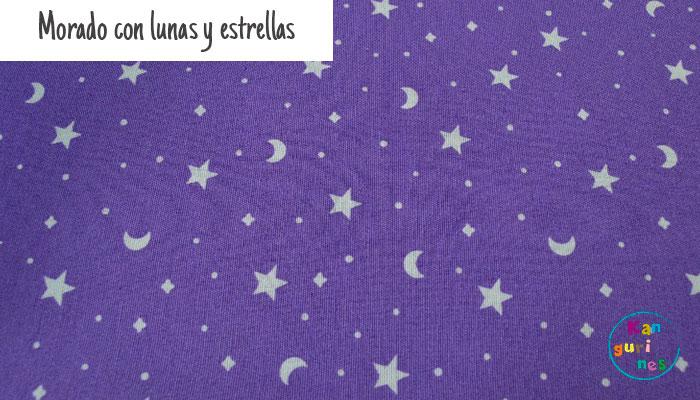 Tela Morado con lunas y estrellas