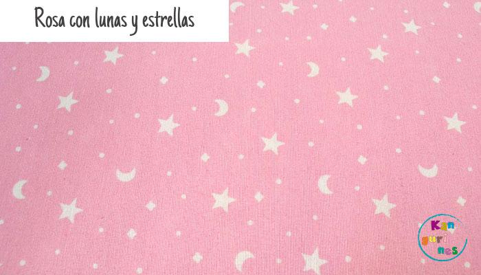 Tela Rosa con lunas y estrellas