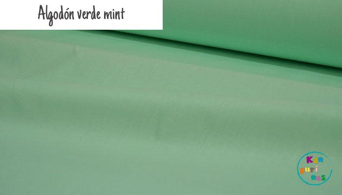 Tela Algodón verde mint