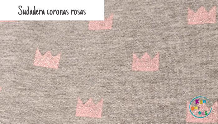 Tela Sudadera coronas rosas